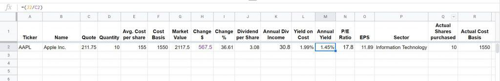 dividend tracking sheet 10