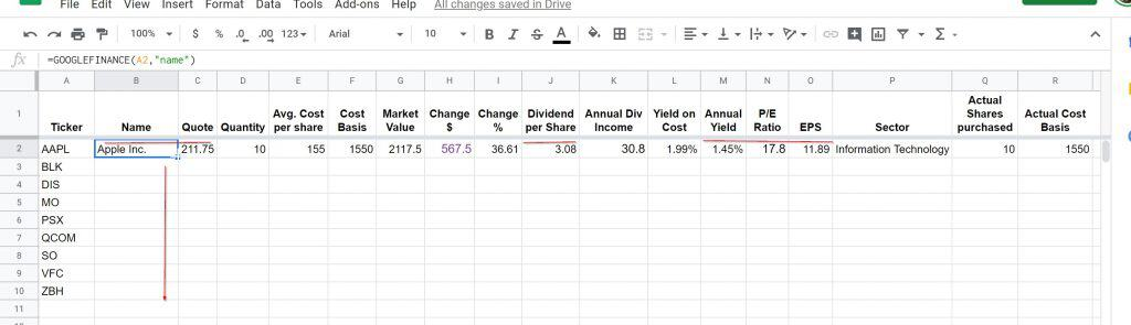 dividend tracking sheet 11