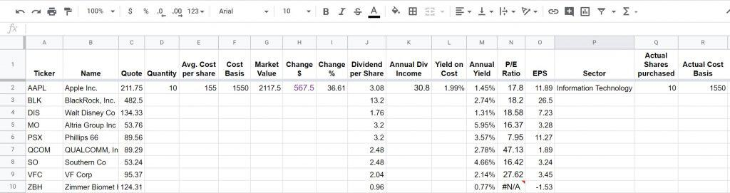 dividend tracking sheet 12