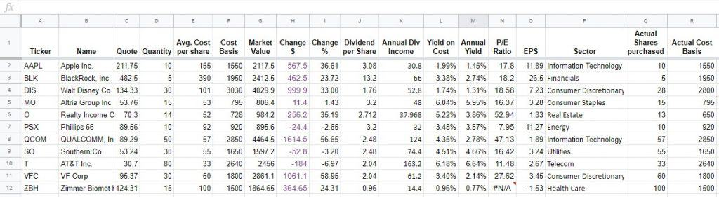 dividend tracking sheet 13