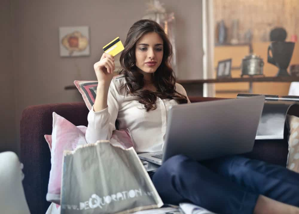 woman checking credit history